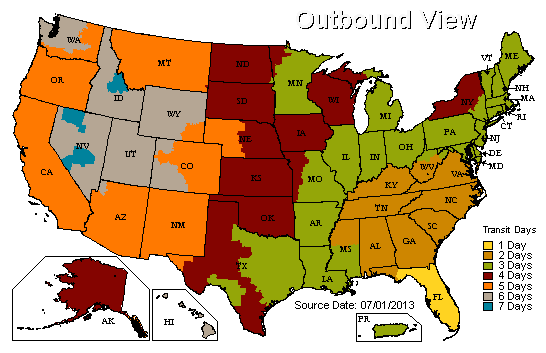 UPS Ground Services Shipping Map